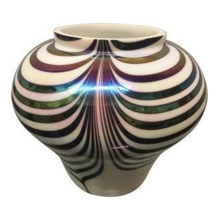 Vintage Iridescent Pulled Loop Cabinet Vase For Sale