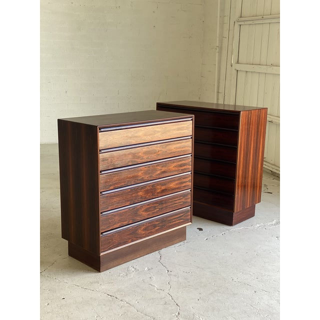 Pair of tall Brazilian rosewood dressers by Westnofa. Top drawers are divided. All slide smoothly. In excellent vintage...