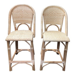 French Country Serena & Lily Wicker Counter Stools - a Pair For Sale