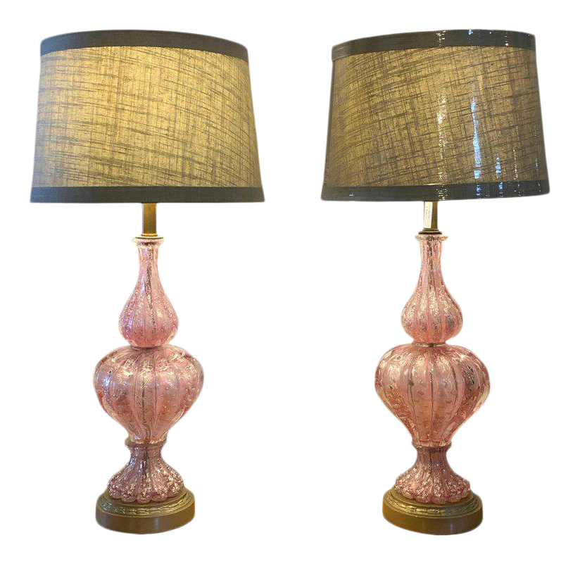 Large Barovier E Toso Murano Glass Table Lamps With Silver Aventurine   A  Pair