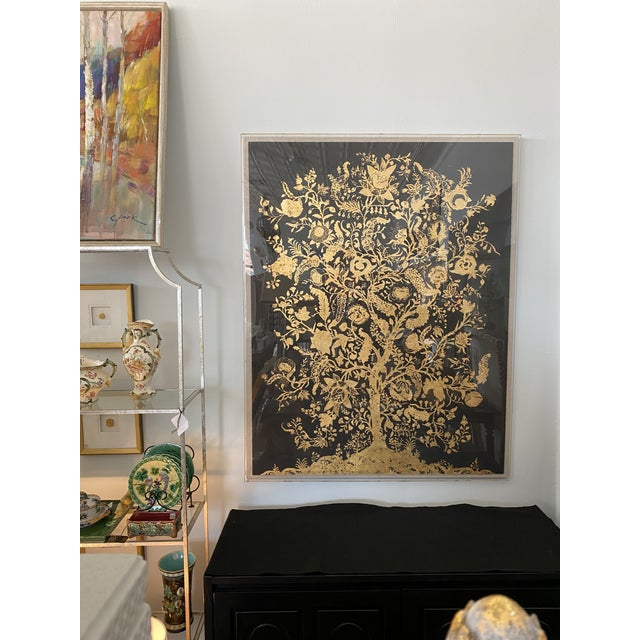Gold gilt Tree of Life on black onyx museum quality paper is showcased on a linen background encased in acrylic box frame....