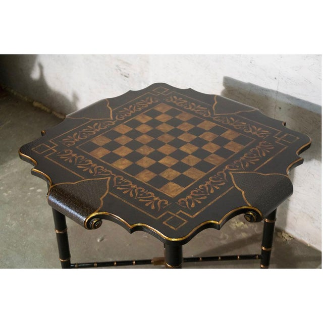 Black & Gold Gilt Game Table For Sale - Image 4 of 8
