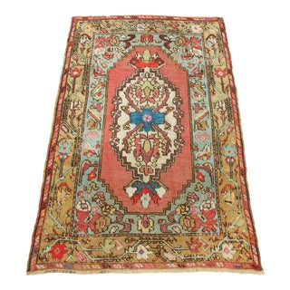 3x4 Charming Pink & Aqua Vintage Anatolian Village Area Rug For Sale