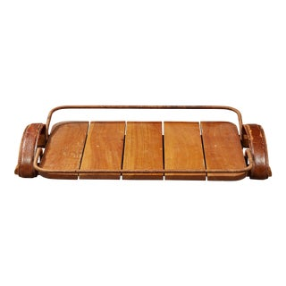 Jacques Adnet (1900-1984) - Natural Wood Tray, Leather and Rope, Circa 1950 For Sale