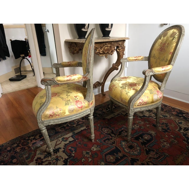 Wood 18th Century Vintage Louis XVI 1760s French Fauteuils- A Pair For Sale - Image 7 of 12