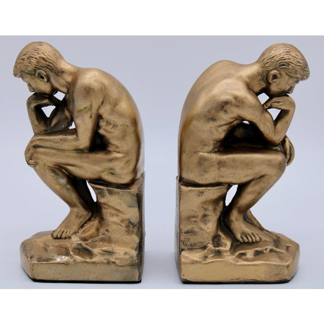 1928 Metallic Gold Thinking Man Bookends For Sale - Image 12 of 12