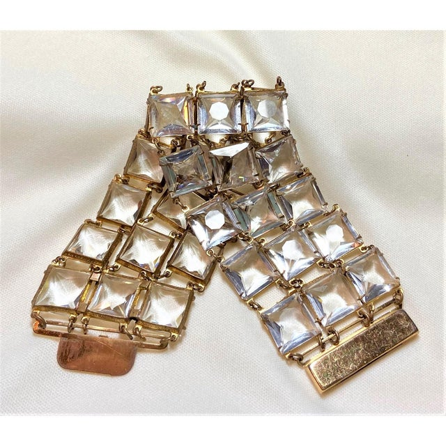 Mid 20th Century Mid-Century Clear Faceted Crystal Bracelet For Sale - Image 5 of 9