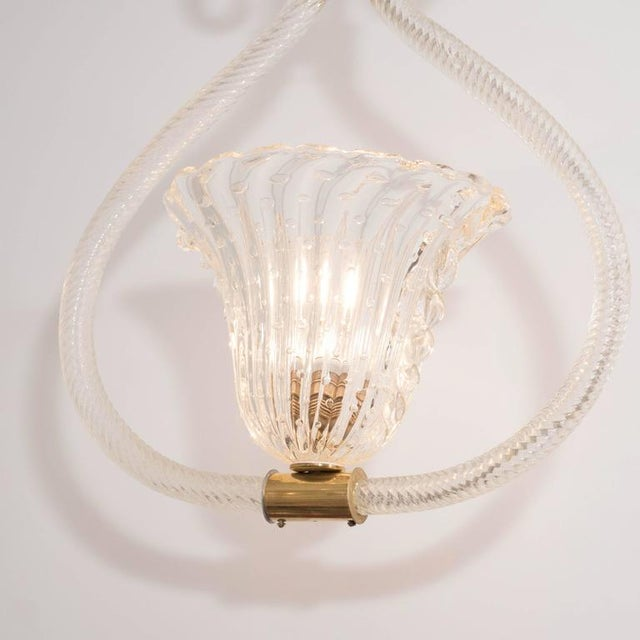 "1950s Barovier & Toso ""Bullicante"" Murano Glass and Brass Pendant/Chandelier For Sale - Image 5 of 9"