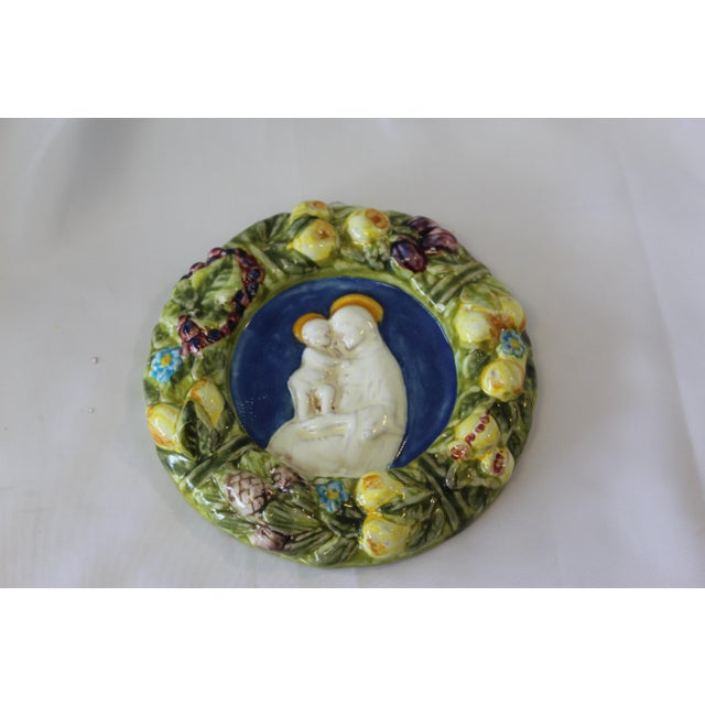 Vintage Italian Artist Signed Della Robbia Terracotta Religious Wall Decor For Sale - Image 4 of 4