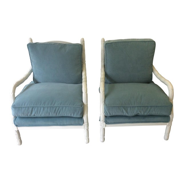 Lacquered Faux-Bios Fauteuils - A Pair - Image 1 of 7