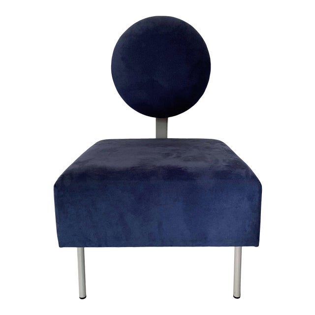 1980's Vintage Andreu World Contemporary Blue Square Lounge Chair For Sale