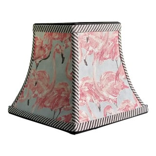 Gray and Pink Flamingo Ticking Stripe Trim Lampshade For Sale
