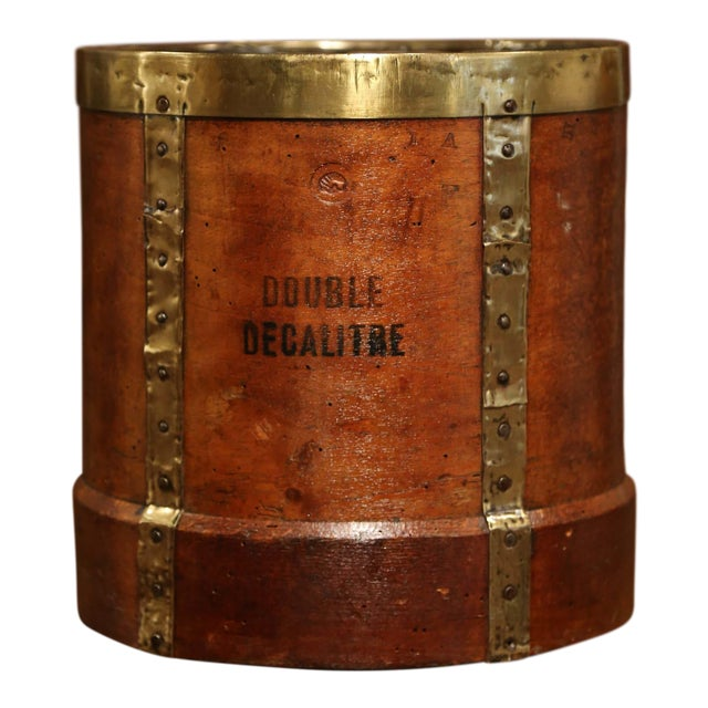 19th Century French Walnut, Brass and Iron Grain Measure Bucket or Waste Basket For Sale