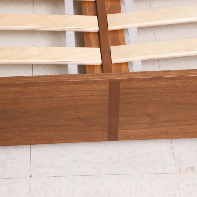 Wood Modern Walnut King Size Platform Bed With Floating Nightstands For Sale - Image 7 of 11