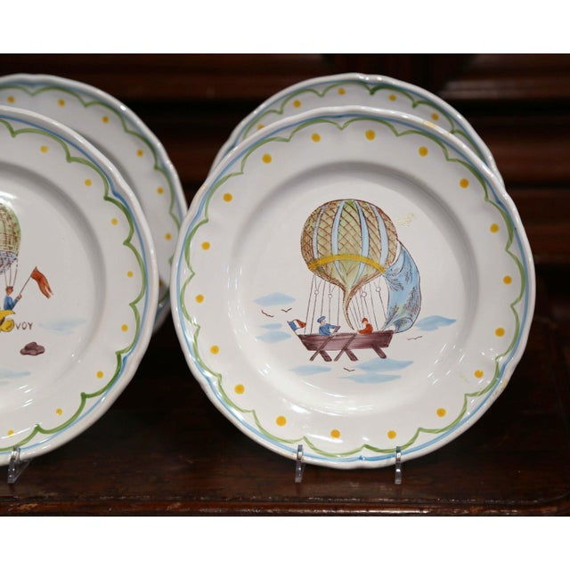 Blue Set of Six French Hand-Painted Ceramic Hot Air Balloon Plates From Brittany For Sale - Image 8 of 13