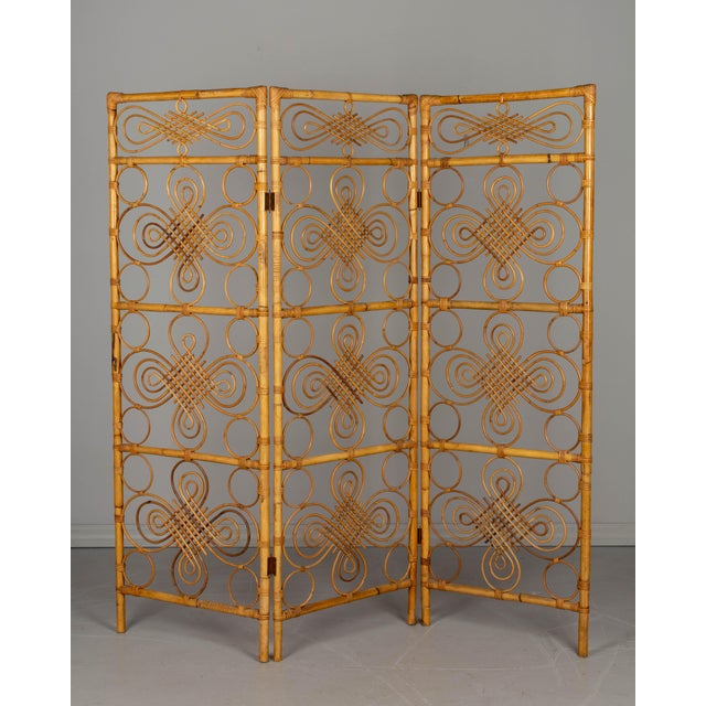 Mid Century French Riviera Bamboo and Rattan Screen For Sale - Image 9 of 9