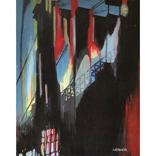 Vintage 1960s Abstract Bridge Painting For Sale