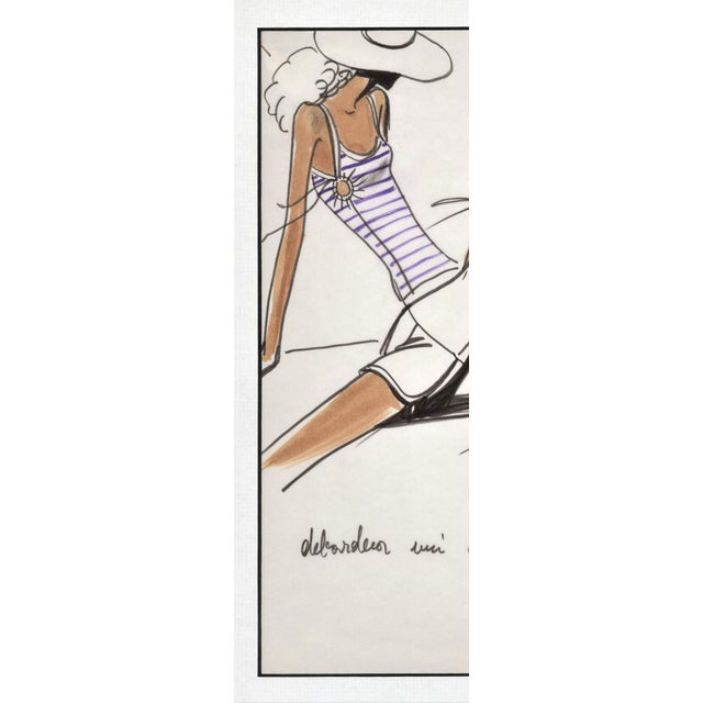 Rare Original 1980's French Fashion Drawing-Summer Beach Cruise Wear For Sale - Image 4 of 6