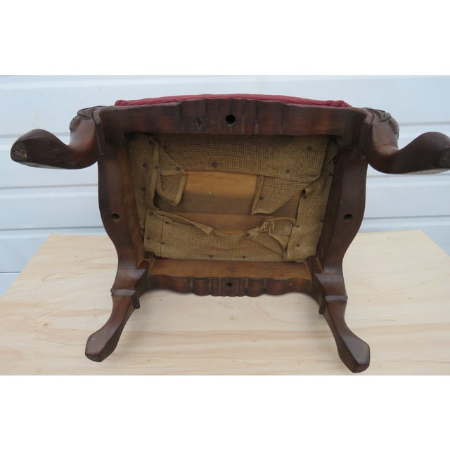 Early 20th Century French Carved Needlepoint Tapestry Small Ottoman Footstool Bench For Sale - Image 5 of 13