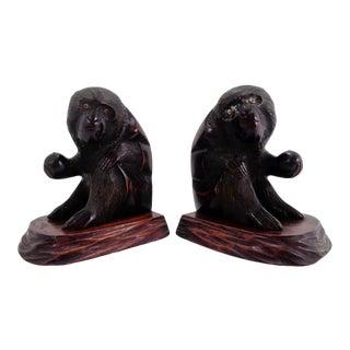 Vintage Gibbons Ape/Monkey Carved Wood Bookends For Sale