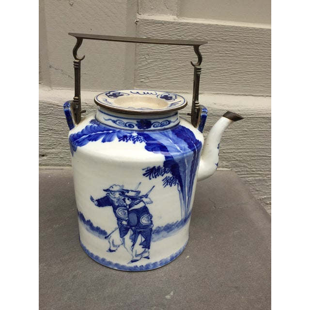 Chinoiserie 20th Century Chinoiserie Teapot Brass Handle and Brass Trim For Sale - Image 3 of 9