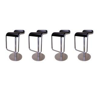 Modern Lapalma Lem Chromed Steel & Leather Adjustable Swivel Stools - Set of 4 For Sale