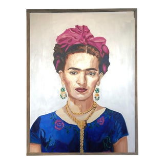 Frida Blue Mexican Feminist Bold Painting For Sale