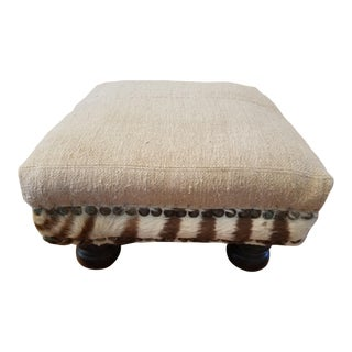 Boho Chic French Linen and Zebra Foot Stool