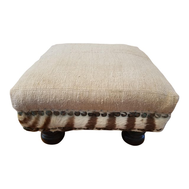 Boho Chic French Linen and Zebra Foot Stool For Sale