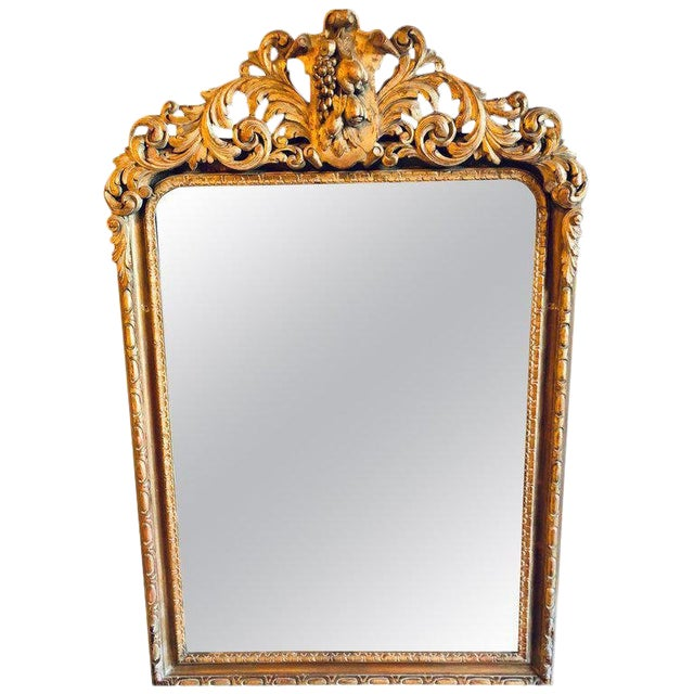 Large Carved Rococo Wall / Console Mirror W. Grape and Scroll Design For Sale