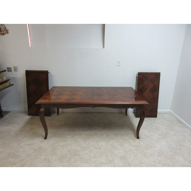 Henredon Country French Parquet Top Carved Banquet Conference / Dining Table For Sale - Image 11 of 11