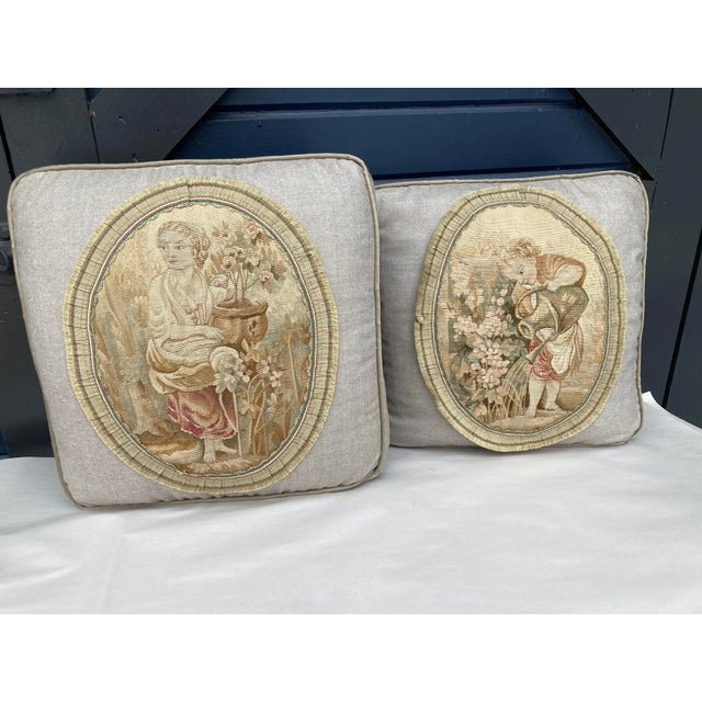 19th Century Aubusson Tapestry Pillows - a Pair For Sale - Image 9 of 9