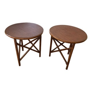 Transitional Tripod Woven Raffia Tables - a Pair For Sale
