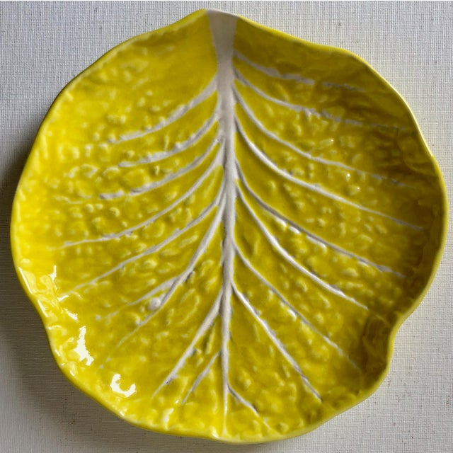 1960s Secla Cabbage Leaf Majolica-32 Pieces-8 Place-Settings For Sale - Image 5 of 10