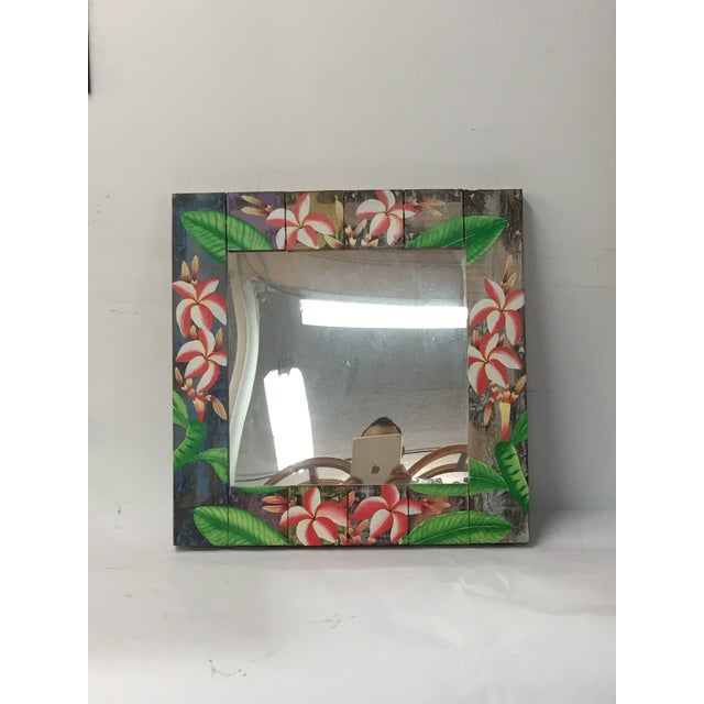 Floral Wooden Mirror - Image 3 of 4