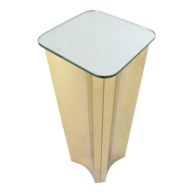 Mirror Glass Top Folded Brass Square Modern Pedestal For Sale