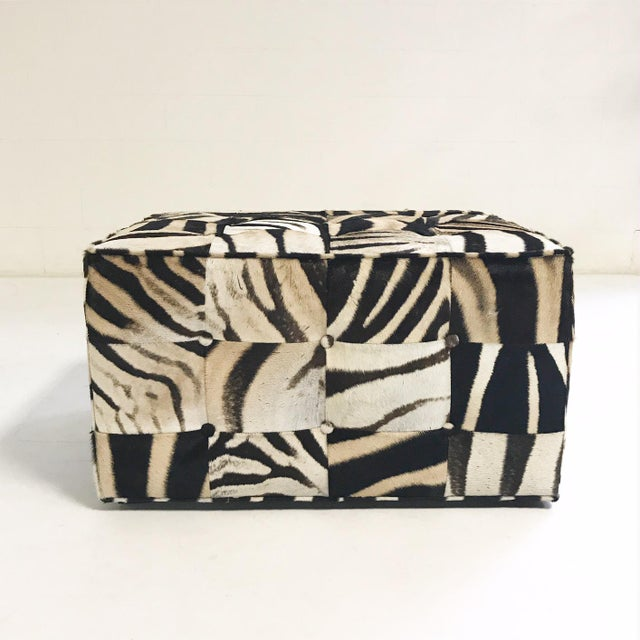 Forsyth One of a Kind Patchwork Zebra Hide Ottoman For Sale In Saint Louis - Image 6 of 8
