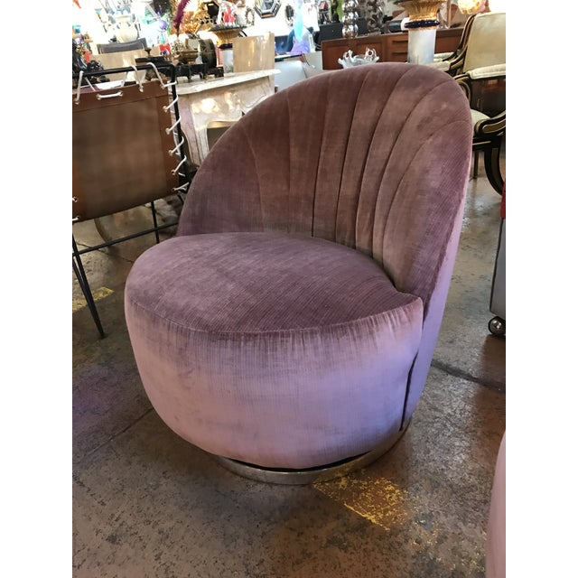 Silk 1960s Vintage Pair of Milo Baughman for Thayer Coggin Channel Back Swivel Lounge Chairs Newly Upholstered For Sale - Image 7 of 11