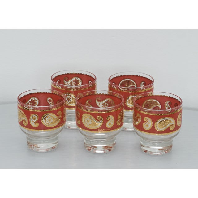 Culver MCM Red Paisley 22k Gold Glasses - Set of 5 - Image 3 of 3