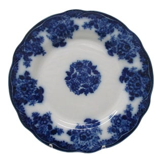 Vintage White With Blue Flowers and Center Bouquet Decorative Ceramic Plate For Sale