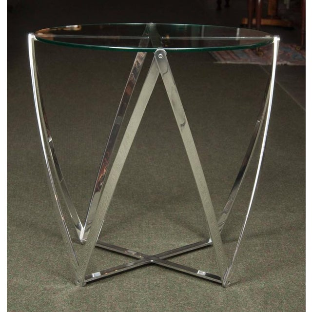 Modern A John Vesey Aluminum & Glass-Top Round Side Table For Sale - Image 3 of 6