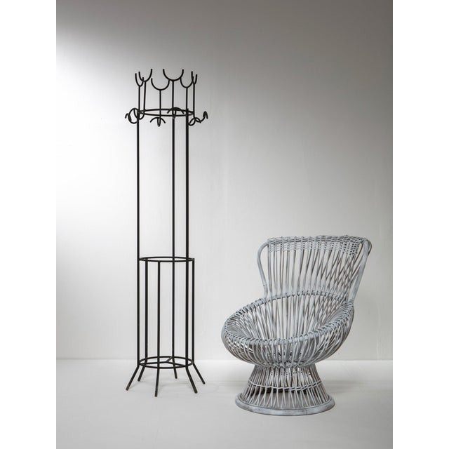 Sculptural coat stand by Franco Campo and Carlo Graffi. Black painted metal frame.