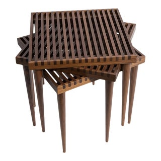 Smilow Furniture Walnut Slat Wood Side Tables/Stools For Sale