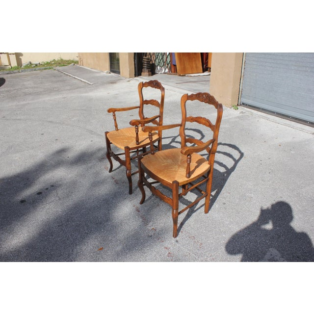French Early 20th Century French Country Rush Seat Solid Walnut Berger Chairs- a Pair For Sale - Image 3 of 13