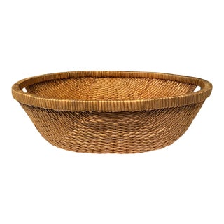 Large Vintage Mid-Century Modern Rattan Weave Oval Basket With Handles For Sale