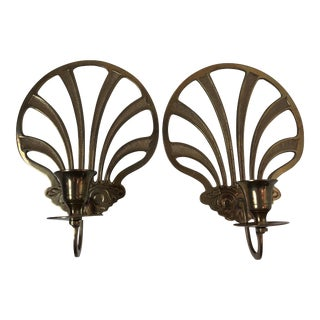 Vintage Brass Shell Wall Candleholders - a Pair For Sale