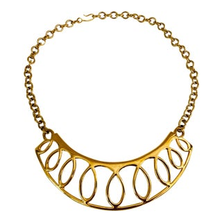 1980 Monet Gold Bib Necklace For Sale