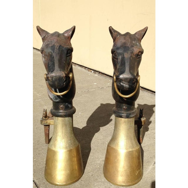 Antique Equestrian Andirons - A Pair - Image 4 of 9