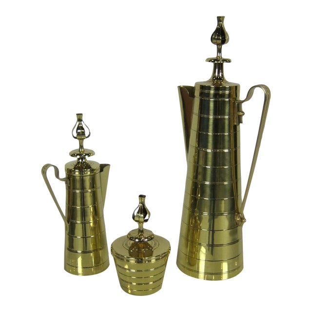 3 Piece Brass Coffee Service by Tommi Parzinger for Dorlyn For Sale