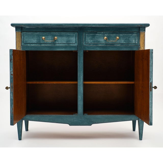1910s Antique Directoire Style Teal Buffet For Sale - Image 5 of 10